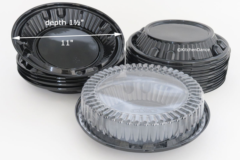 "10"" pie container - high dome 2 piece plastic set"