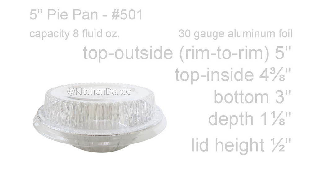 """disposable aluminum foil 5"""" small pie / tart pan, pie tin, baking pan, food stroage container with plastic lid"""
