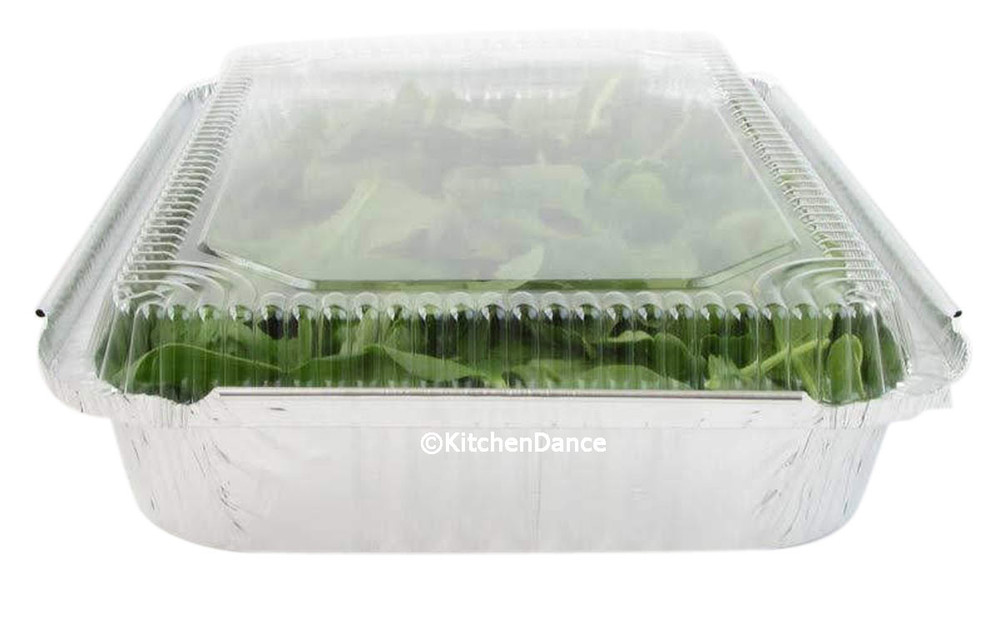 disposable aluminum foil 4 pound carryout/takeout pans, baking pans, food containers with plastic lid