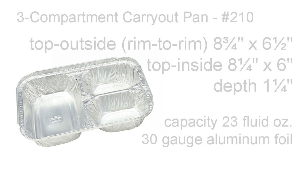 disposable aluminum foil carryout pan, takeout pan, baking pan, food serving pan - 3 compartment or 3 section