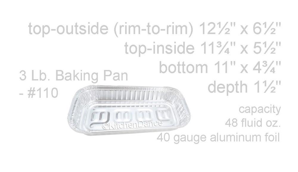 disposable aluminum foil 3 LB. carryout/takeout pans, baking pans, food containers