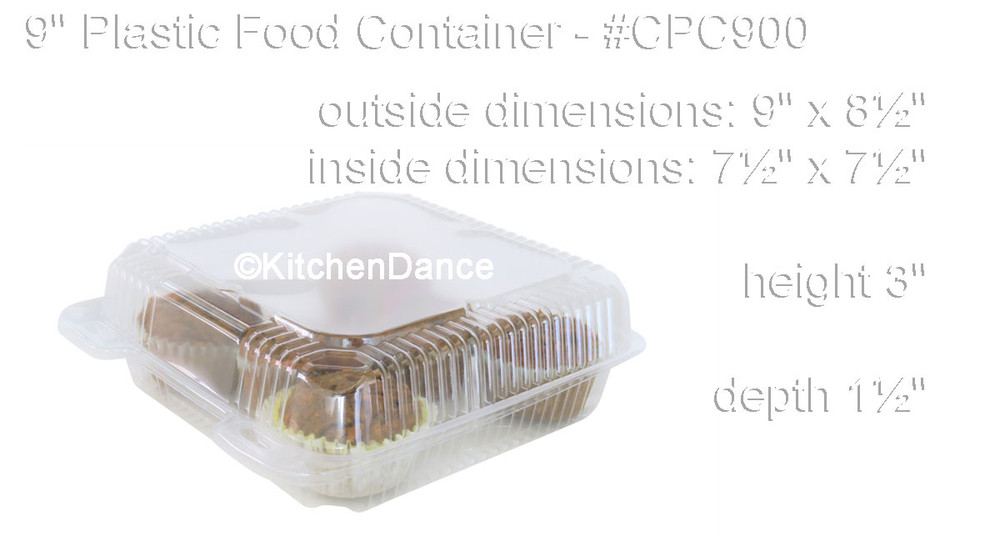 "9"" Square Hinged Plastic Container"