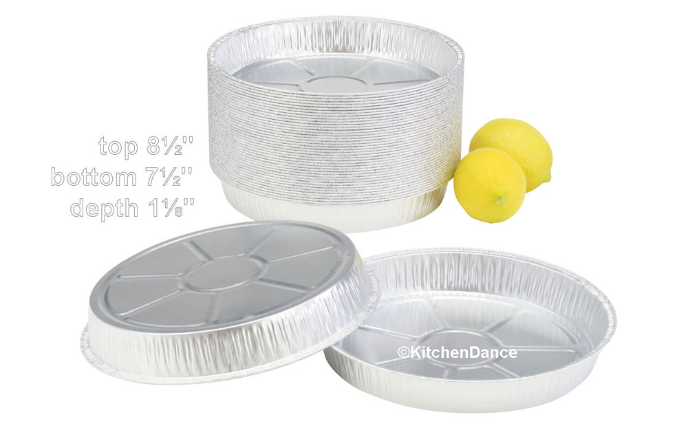 "disposable aluminum foil 8"" round cake baking pans - shallow"