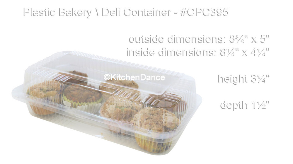 plastic food container, bakery or deli container - hinged lid