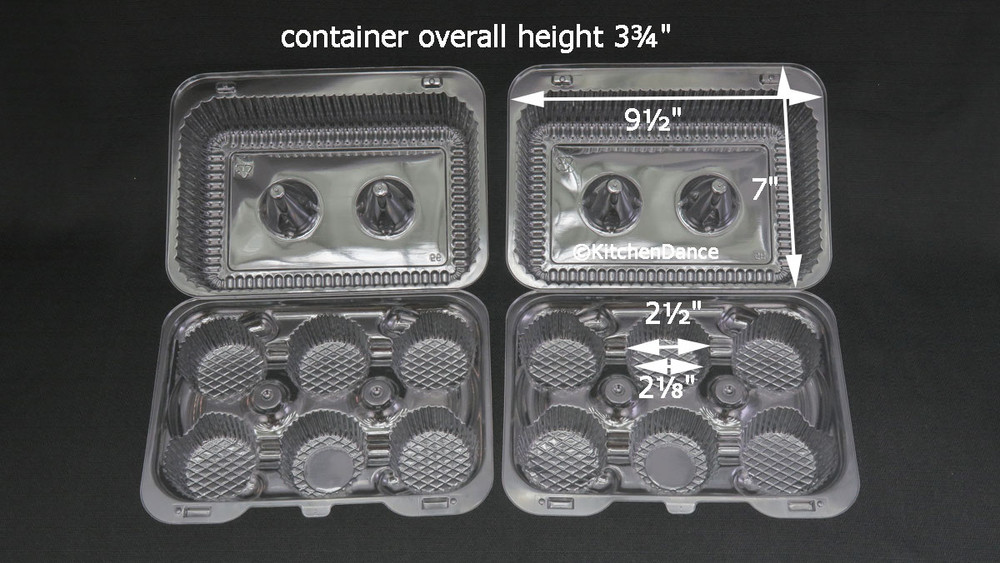 6 cup or 6 count high dome plastic cupcake container