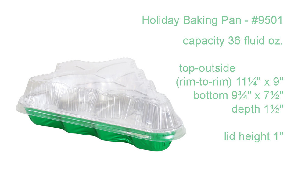 disposable aluminum colored foil holiday baking pan with plastic lid, Chirstmas tree shape