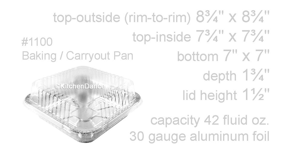 "disposable aluminum foil 9"" sqaure cake pan, baking pan, food container with a plastic dome lid"