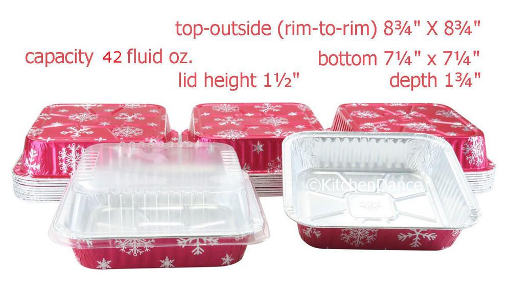 """Disposable aluminum 8"""" Square Holiday Baking Pan"""