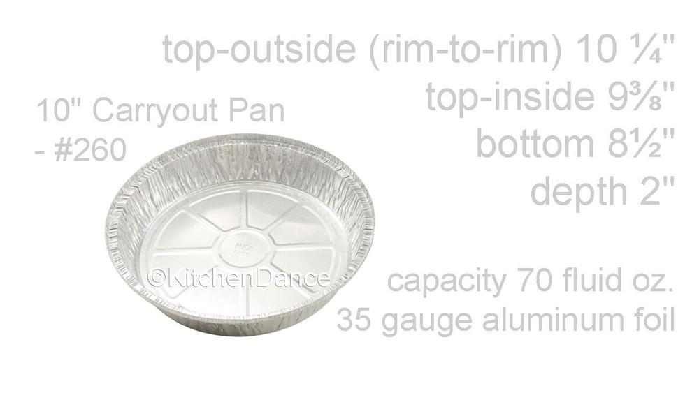 "disposable aluminum foil 10"" round baking pan, carryout pan, takeout pan"