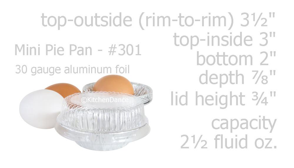 "disposable aluminum foil 3"" small tart pan, pie tin, mini pie pan - individual serving size desert pan with lid"