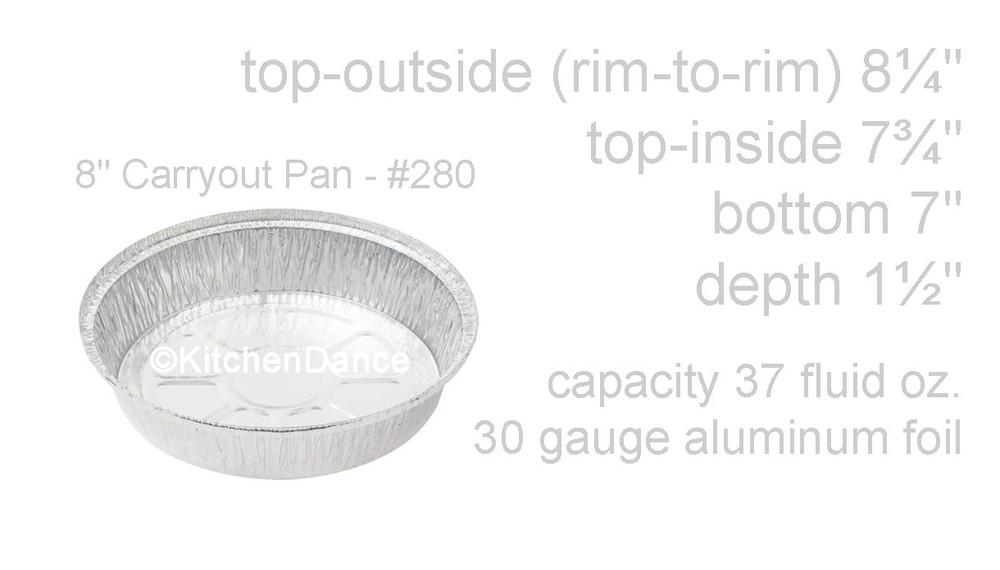 "disposable aluminum foil 8"" carryout pans / takeout pan, baking pan, food container"