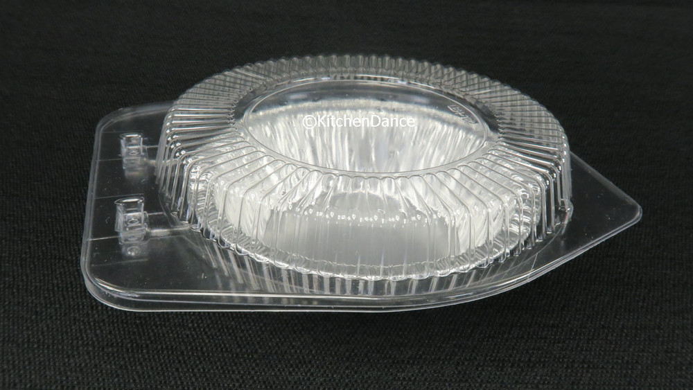"""disposable aluminum foil 5"""" small pie / tart pan, pie tin and plastic clamshell container"""