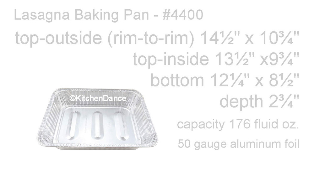 disposable aluminum foil lasagna pan, baking pan - large, deep, rectangle