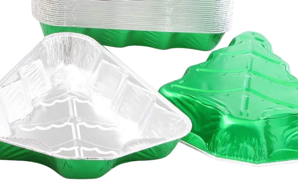 disposable aluminum foil holiday baking pans, Christmas tree shaped