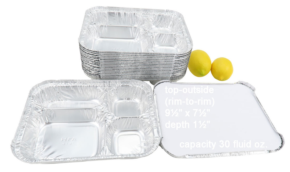 disposable aluminum foil 4-section carryout / takeout pans, food containers