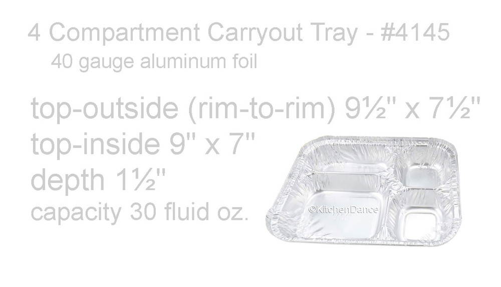 disposable aluminum foil 4-section carryout / takeout pans, food serving tray, food serving pan