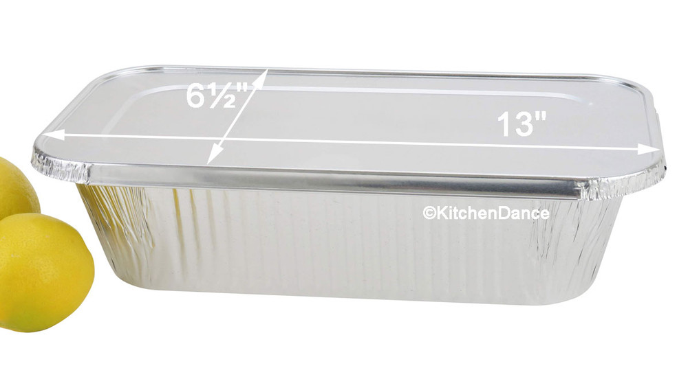 disposable aluminum foil lid for 5 lb. loaf pan, 5 pound loaf pan, 1/3 size steam table pan, baking pan