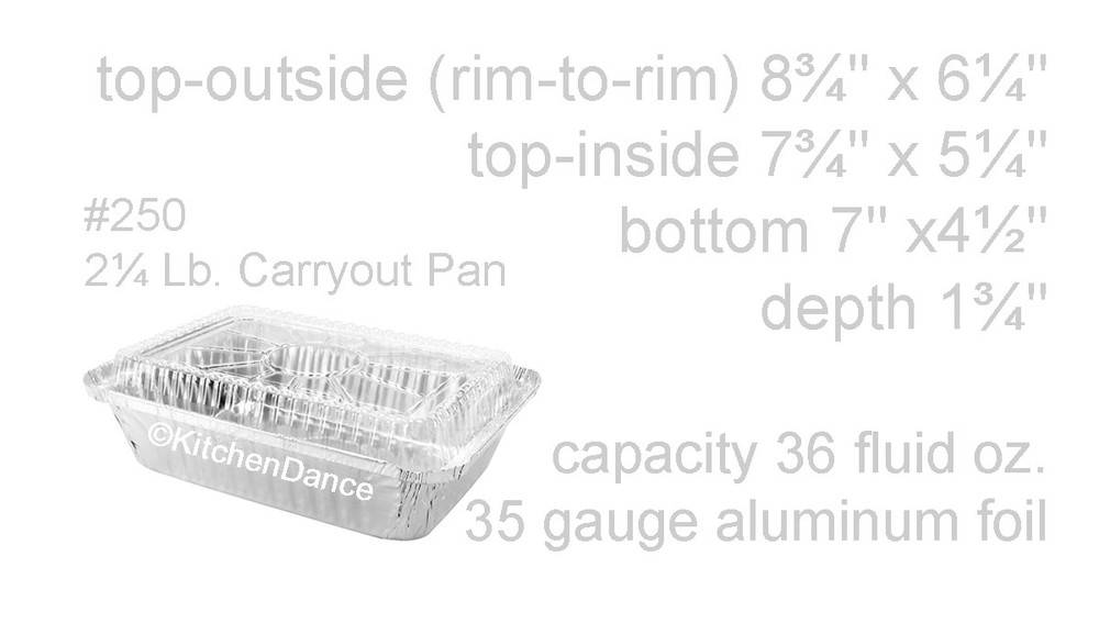 disposable aluminum foil 2¼ lb.  carryout/takeout pan, baking pan, food container with plastic lid