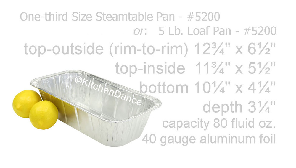 disposable aluminum foil 1/3 size steamtable pan or 5 pound loaf pan