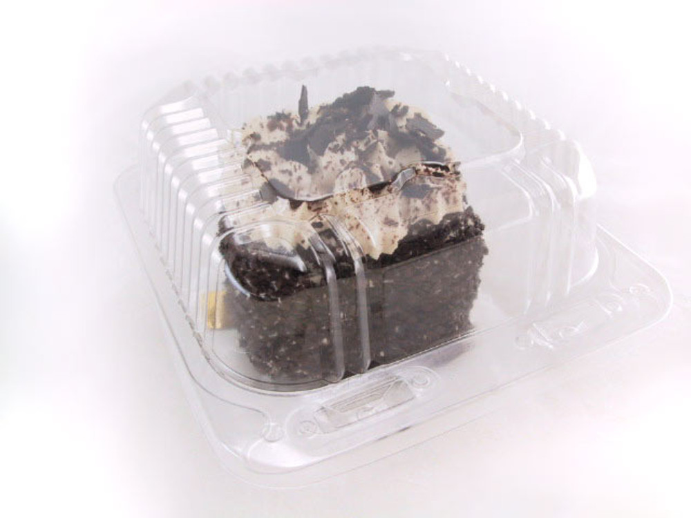 """5"""" square plast bakery container, food container - hinged lid"""