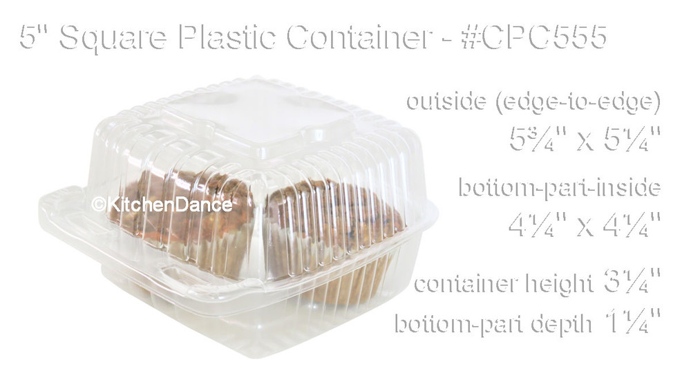 "5"" square plast bakery container, food container - hinged lid"