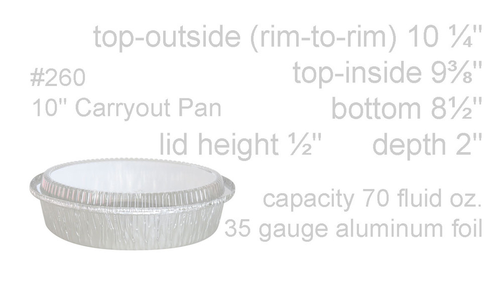 """disposable aluminum foil 10"""" round baking pan, carryout pan, takeout pan, food container with plastic lid"""