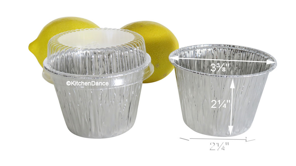 disposable aluminum foil 7 oz dessert cups, deep baking cups, baking cups with plastic lid