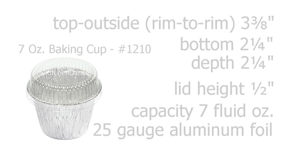 disposable aluminum foil 7 oz dessert cup, deep baking cup with plastic lid