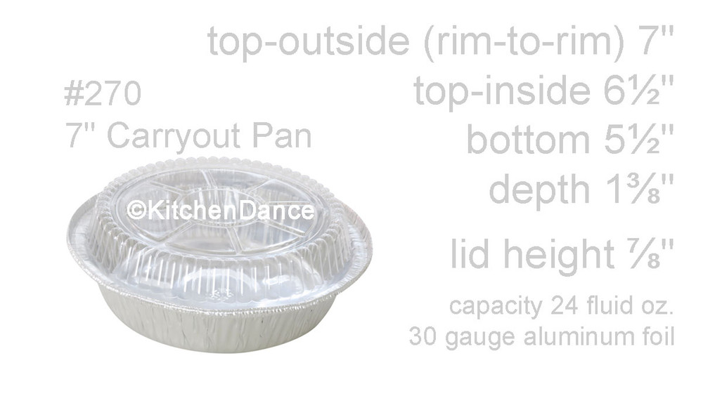 "disposable aluminum foil 7"" round carryout pan, takout pan, baking pan, food storage container with a plastic lid"