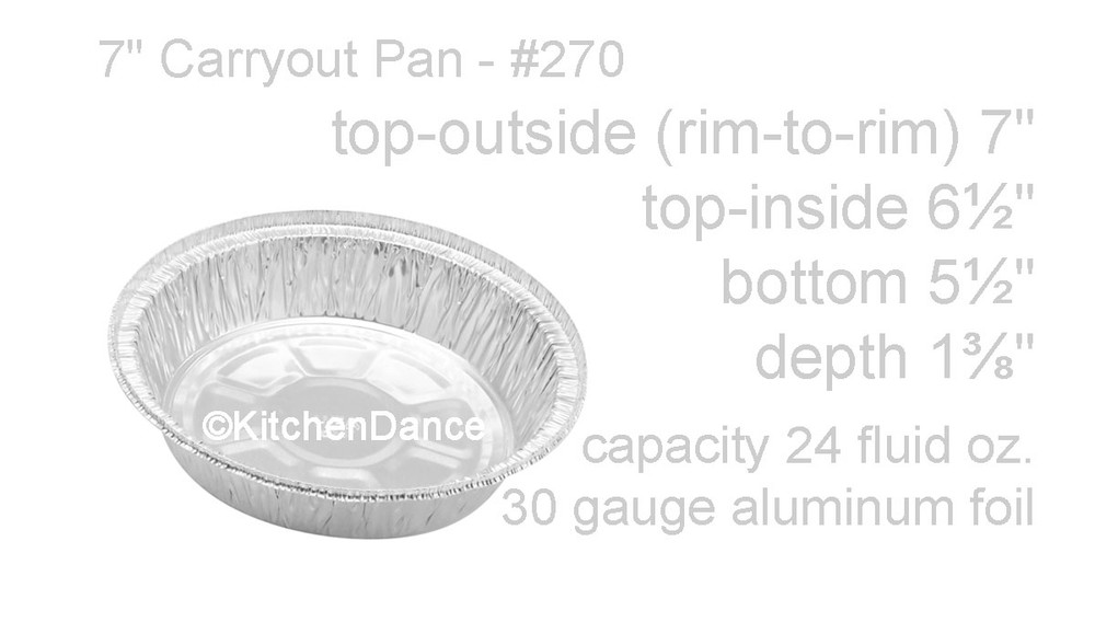 "disposable aluminum foil 7"" round carryout pan, takout pan, baking pan, food serving pan"