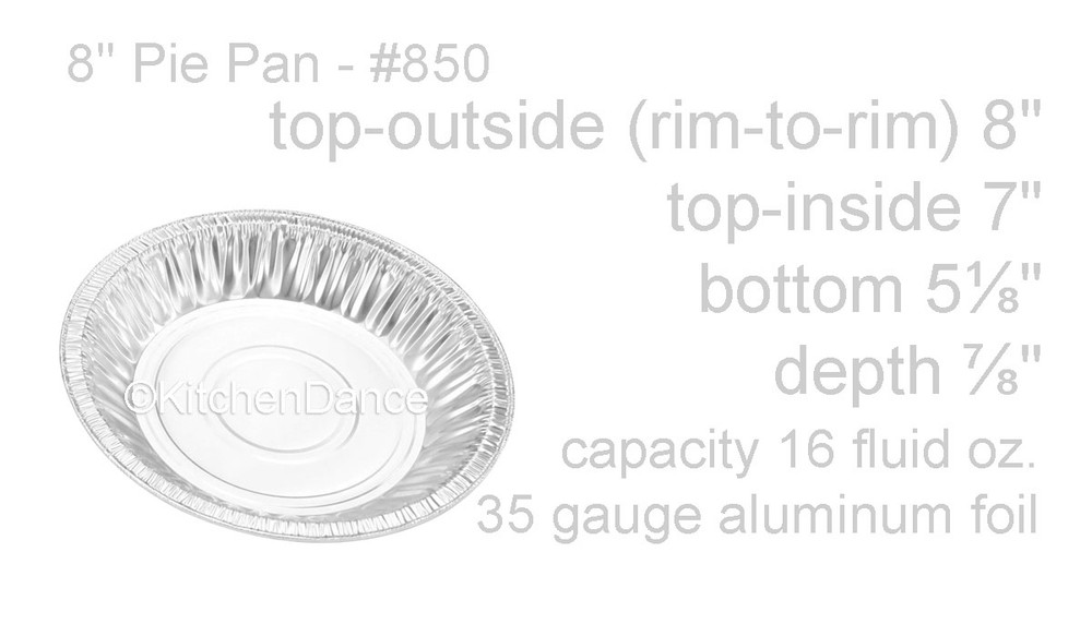 "disposable aluminum foil 8"" pie pan, baking pan - medium depth"