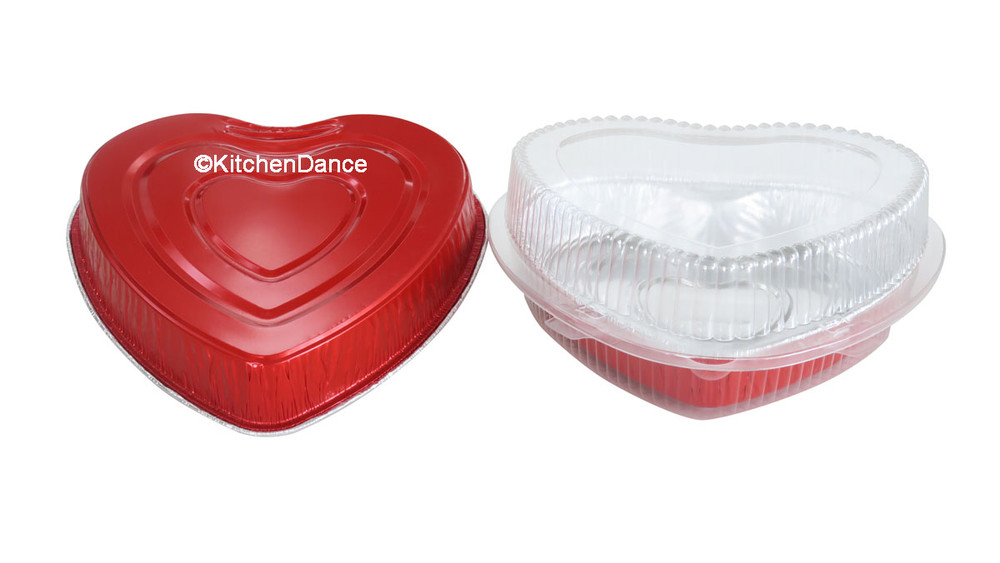 disposable aluminum foil heart-shaped pan, colored holiday baking pan,  serving pan / tray  with a clamshell container