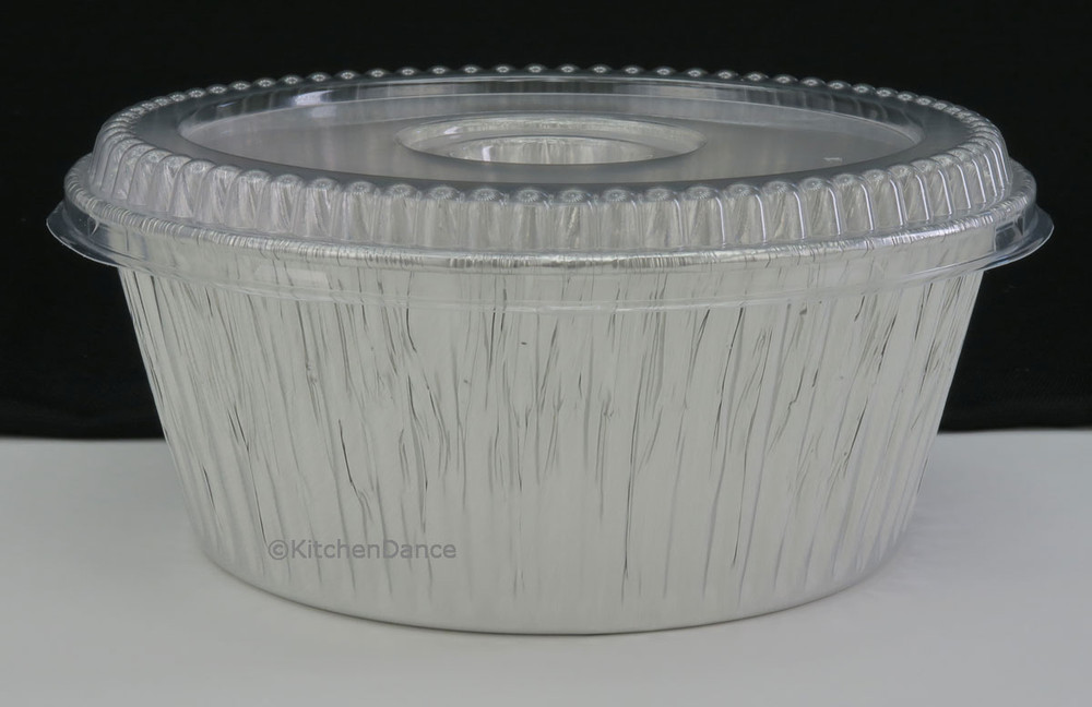 """disposable aluminum foi 10"""" all-purpose baking pan, deep large size food storage container with plastic lid"""