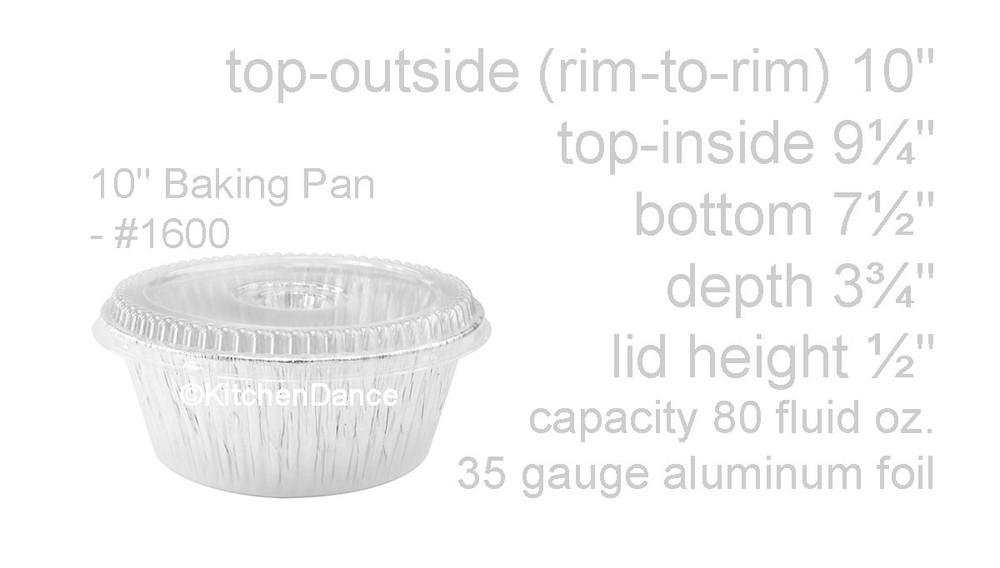 """disposable aluminum foil 10"""" round all purpose baking pan, food container"""
