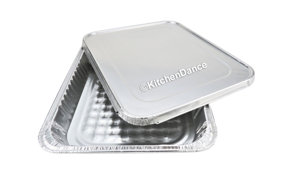disposable aluminum foil ½ size steam table baking pan with foil lid - shallow