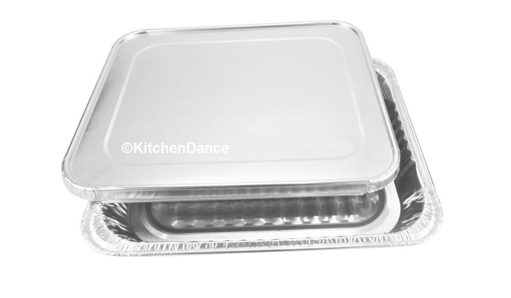 disposable aluminum foil 1/2 size steam table baking pan with foil lid - shallow
