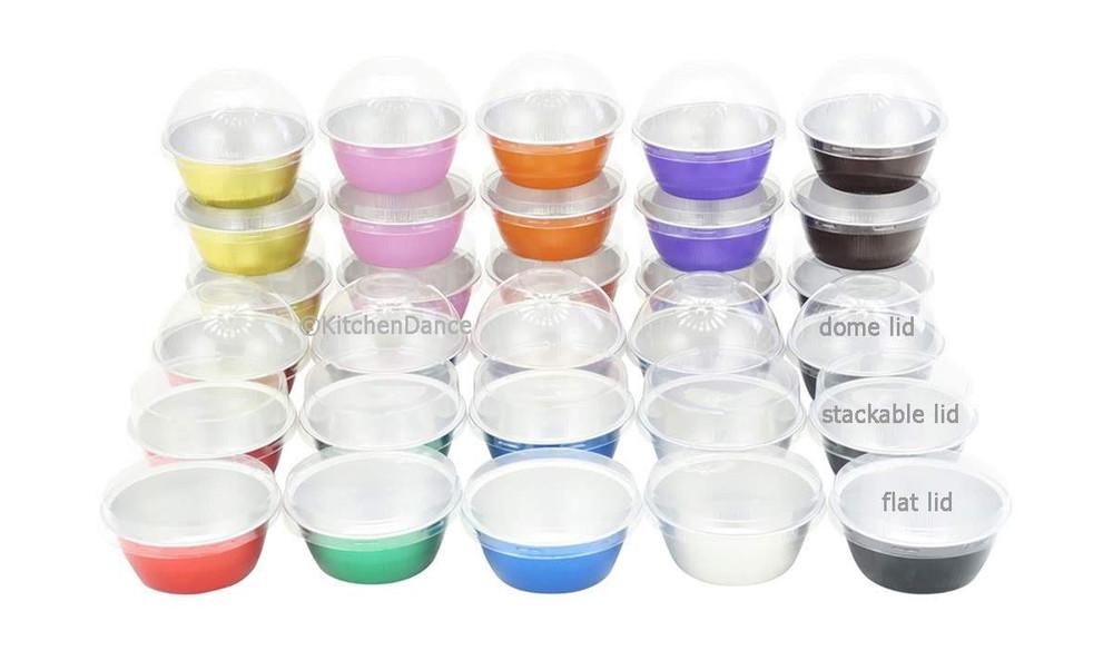 4 oz. Colored Foil Ramekins / Baking Cups with Plastic Lid    #A50P