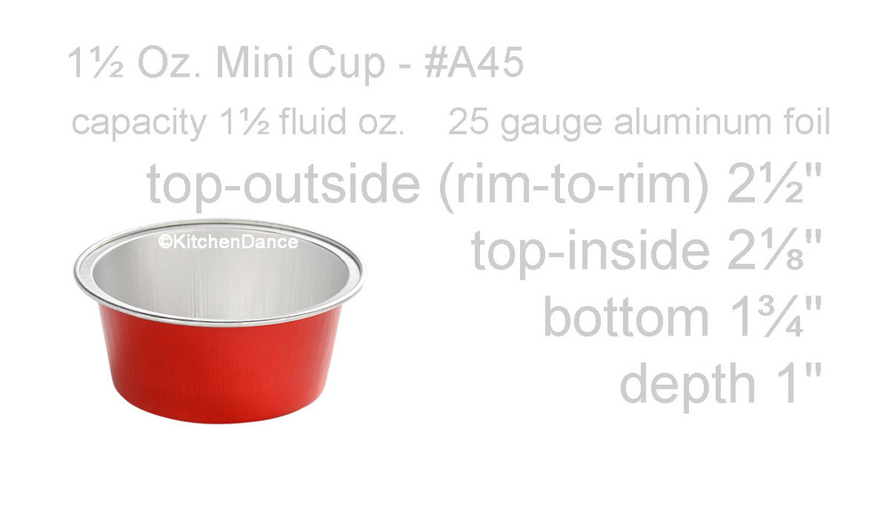 "disposable aluminum foil 1½"" OZ. mini dessert cups, baking cups"