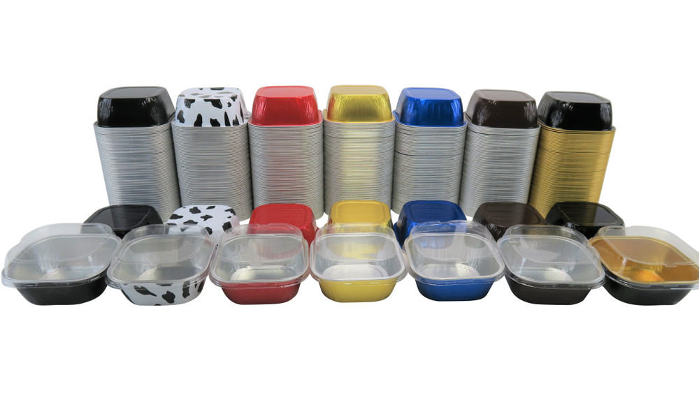 "disposable aluminum foil 4"" colored  holiday baking pans, dessert cups, food containers with lids, dessert pans, cake cups"