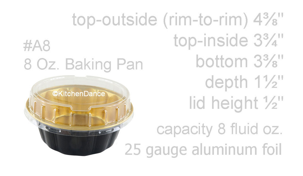 disposable aluminum foil 8 ounce round desert pans, holiday baking pan, food container with a plastic snap on lid