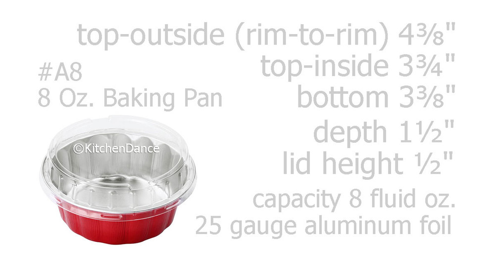 disposable aluminum foil 8 ounce round desert pans, holiday baking pans, food container with a plastic snap on lid