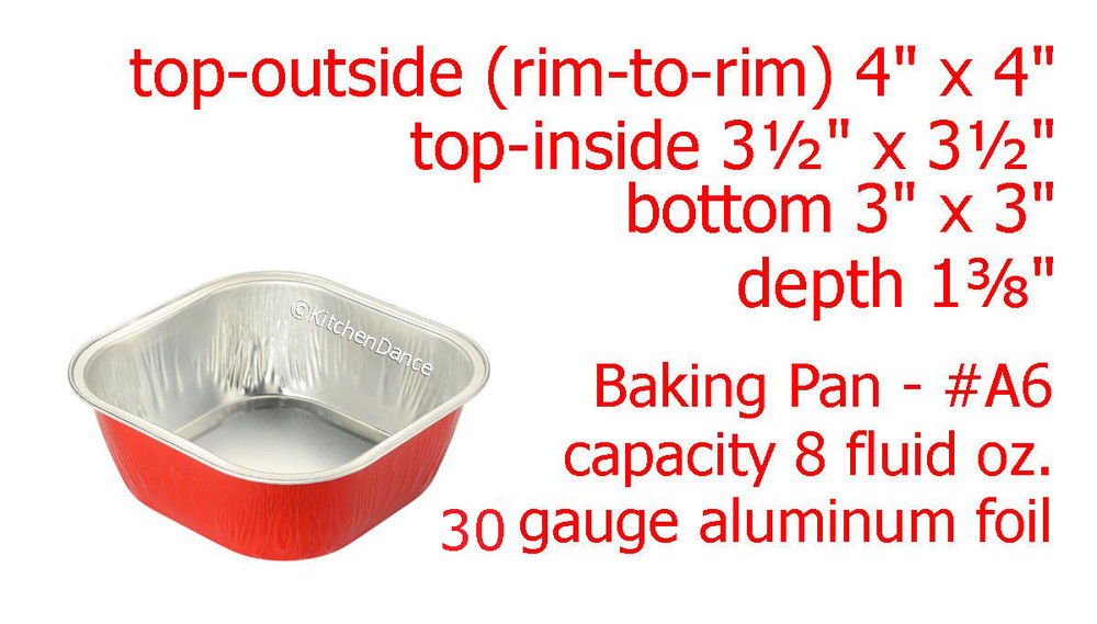 "Disposable Aluminum Foil 4"" Square Dessert Pan"