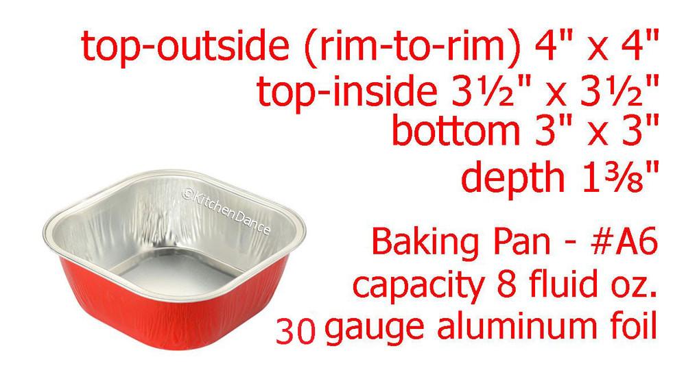 """Disposable Aluminum Foil 4"""" Square Dessert Pan"""