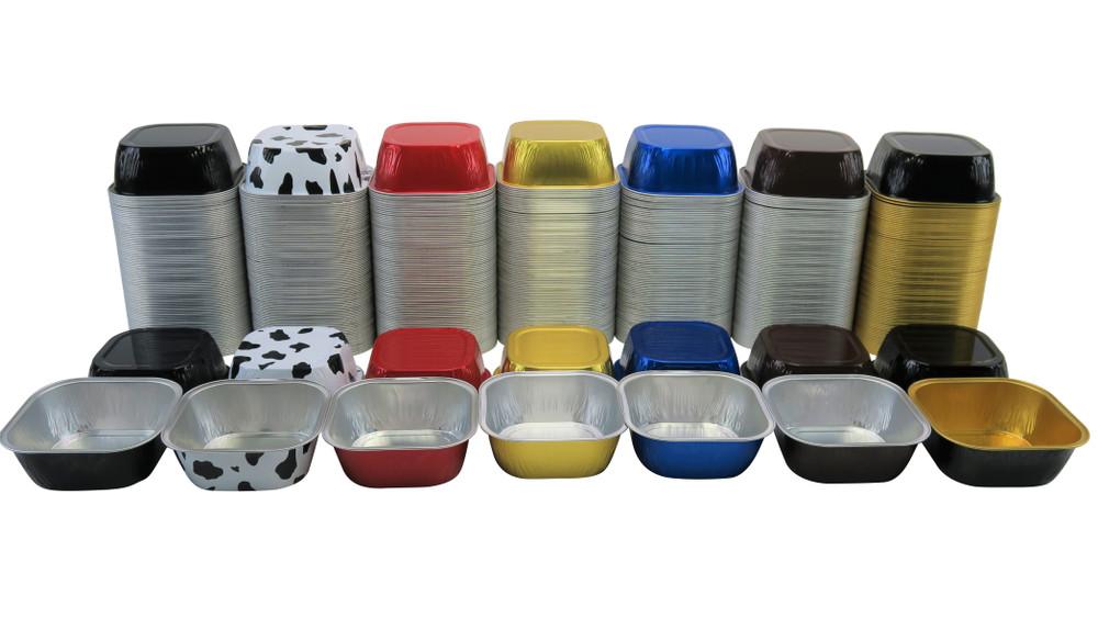 """disposable aluminum foil 4"""" square baking pan, 8 oz. dessert cup / pan"""