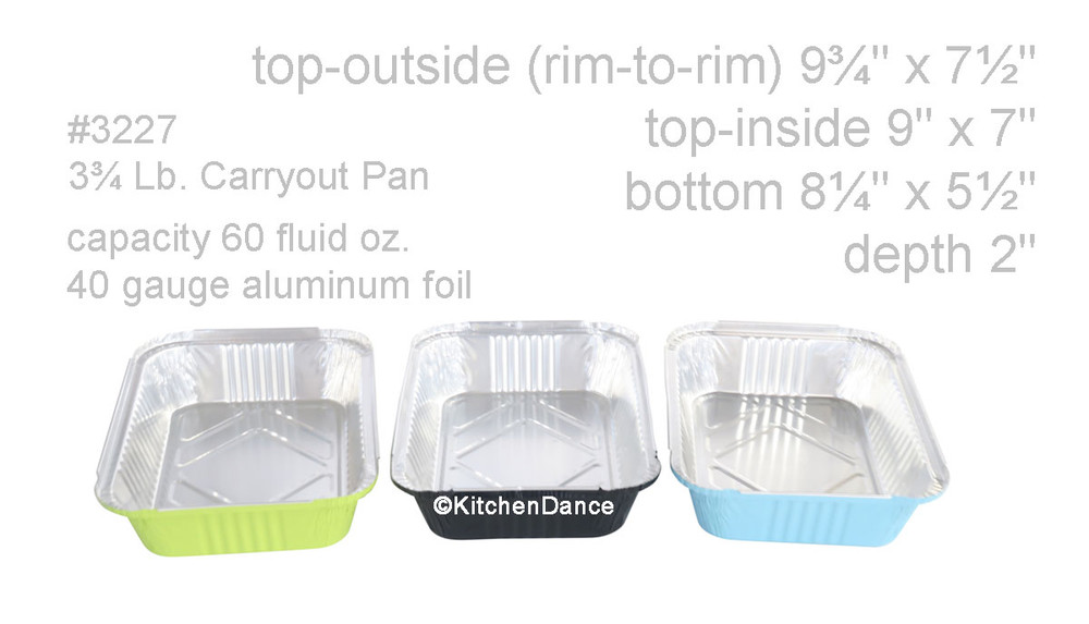 disposable aluminum foil 3¾ lb. carryout pans, takeout pan, serving pan,  holiday baking pans, food serving pans
