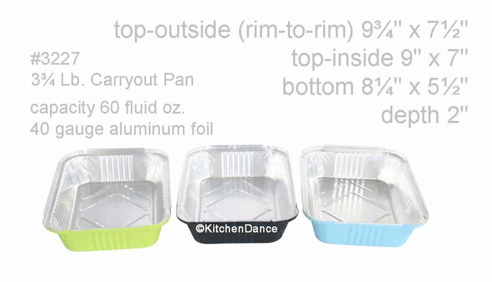 Colored Disposable Aluminum 3.75 Pound Carryout pan w/ Plastic Lid #3227P