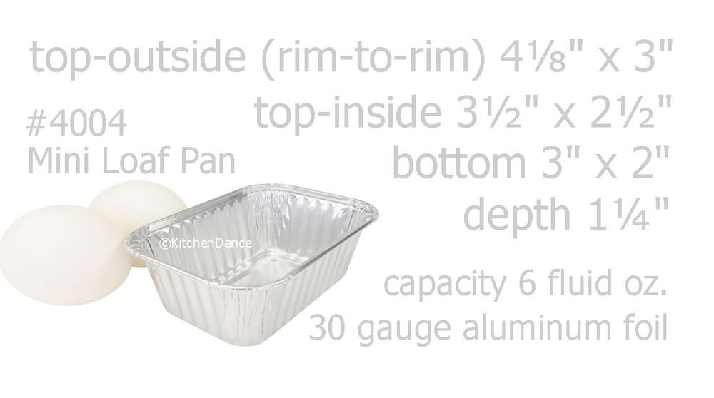 disposable aluminum foil 6 oz. mini loaf pan, mini baking pan