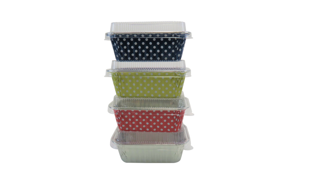 Mini Loaf Pan with Lid- 6 fluid oz. - Disposable Colored Foil  #4004P