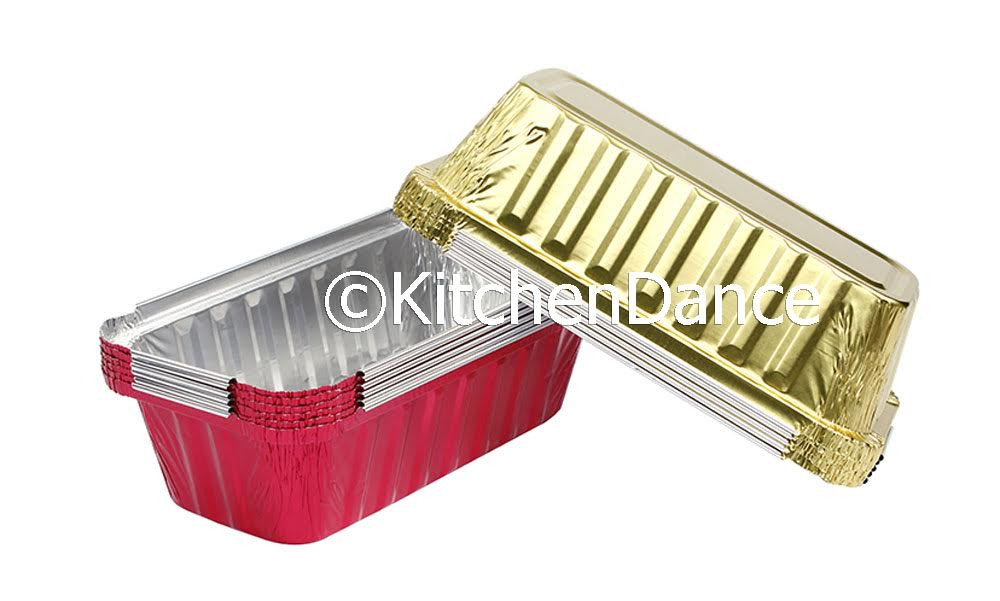 disposable aluminum foil 2 lb. loaf pan, baking pan, food container with board lid
