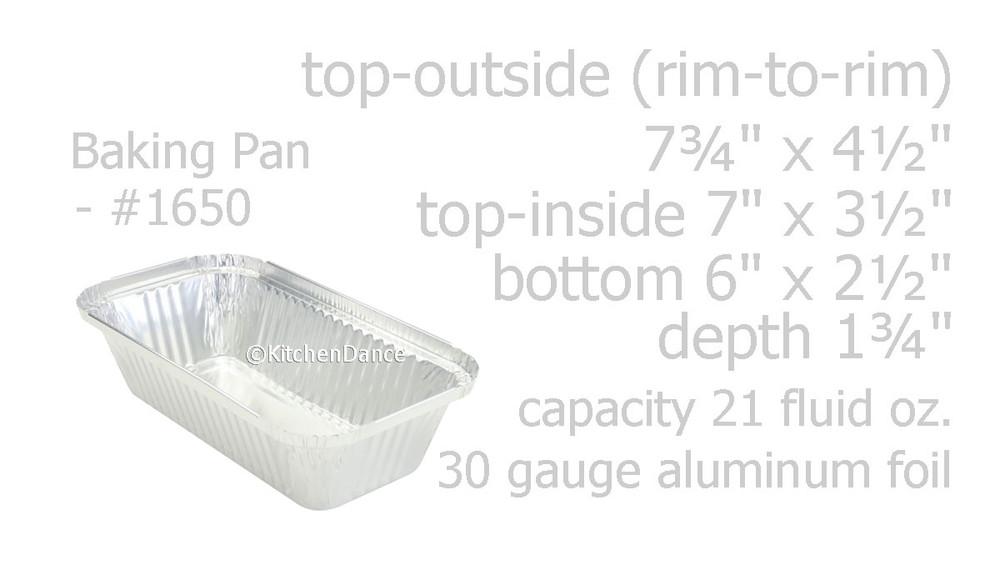 disposable aluminum foil 1½ lb. loaf pan, baking pan, carryout pan, takeout pan, food serving pan